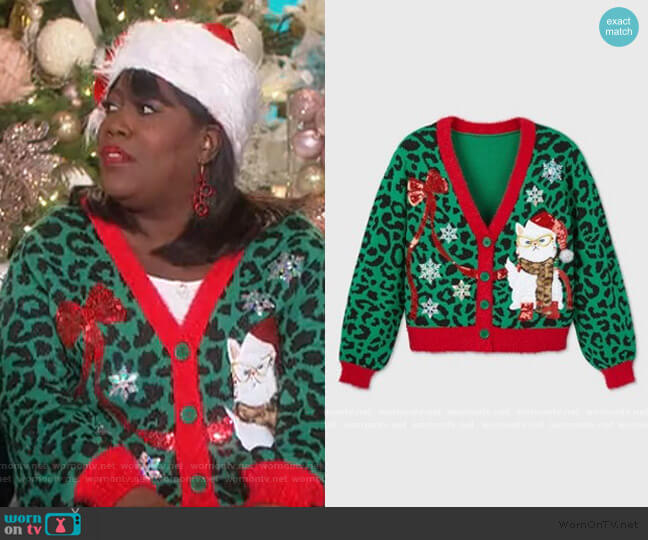 Cat Holiday Cardigan Sweater by 33 Degrees at Target worn by Sheryl Underwood  on The Talk