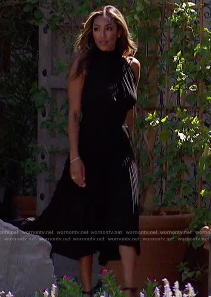 Tayshia's black pleated dress on The Bachelorette