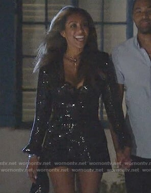 Tayshia's black sequin romper on The Bachelorette