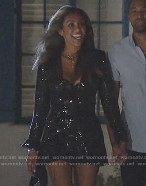 Tayshia's black embellished neck cutout dress on The Bachelorette