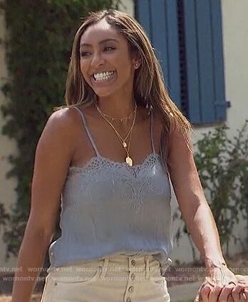 Tayshia's blue lace cami and denim shorts on The Bachelorette