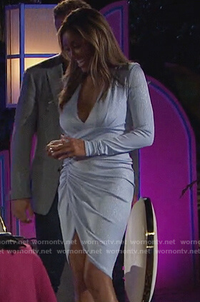 Tayshia's blue plunging ruched dress on The Bachelorette