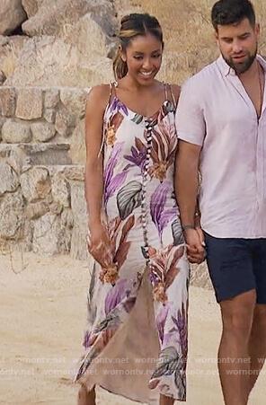 Tayshia's floral button front midi dress on The Bachelorette