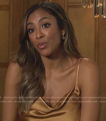 Tayshia's khaki satin cami on The Bachelorette