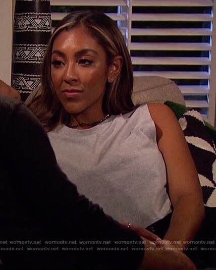 Tayshia's gray tank and sneakers on The Bachelorette
