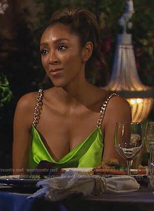 Tayshia's lime chain strap mini dress on The Bachelorette