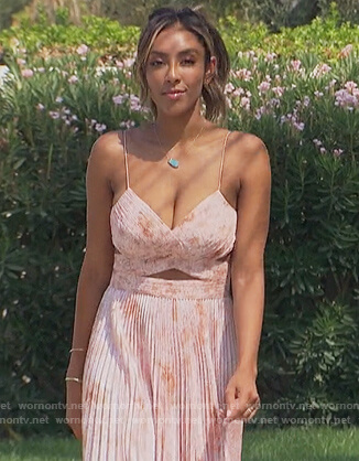 Tayshia's pink floral cutout dress on The Bachelorette