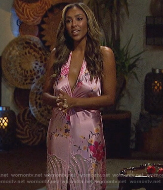 Tayshia's pink floral twist front gown on The Bachelorette