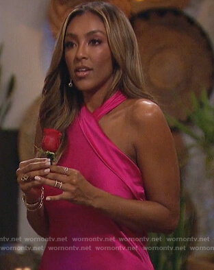 Tayshia's pink satin halter gown on The Bachelorette