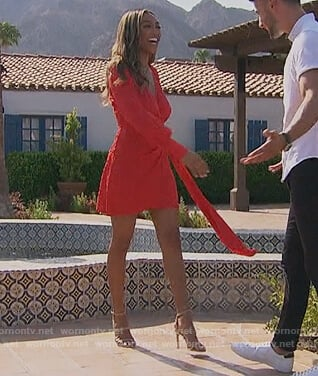 Tayshia's red leopard jacquard wrap dress on The Bachelorette
