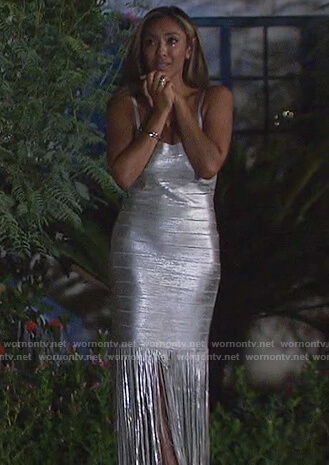 Tayshia's silver metallic fringe dress on The Bachelorette