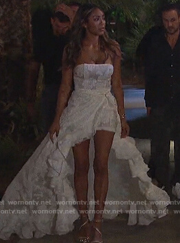 Tayshia's white lace ruffle gown on The Bachelorette