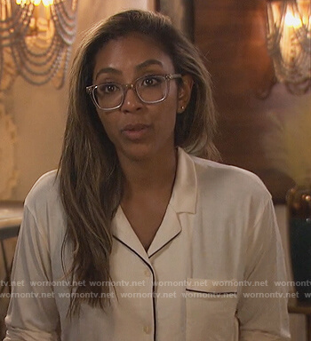 Tayshia's white piping trim pajama top on The Bachelorette