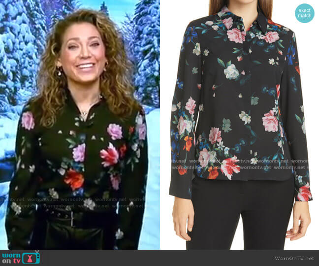 Sandalwood Floral Print Shirt by Ted Baker worn by Ginger Zee  on Good Morning America