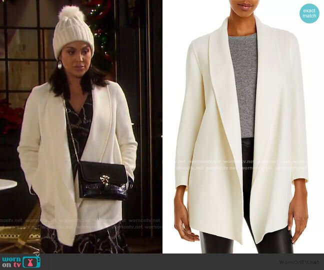 Clairene Luxe Shawl Collar Coat by Theory worn by Chloe Lane (Nadia Bjorlin) on Days of our Lives
