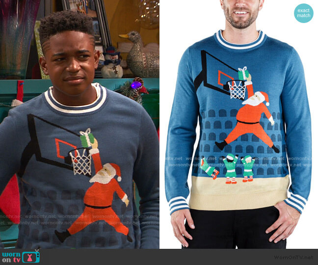 Jingle Baller Ugly Christmas Sweater by Tipsy Elves worn by Booker Baxter (Issac Ryan Brown) on Ravens Home
