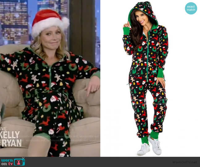 Holiday Cookie Cutter Adult Jumpsuit by Tipsy Elves worn by Kelly Ripa  on Live with Kelly & Ryan