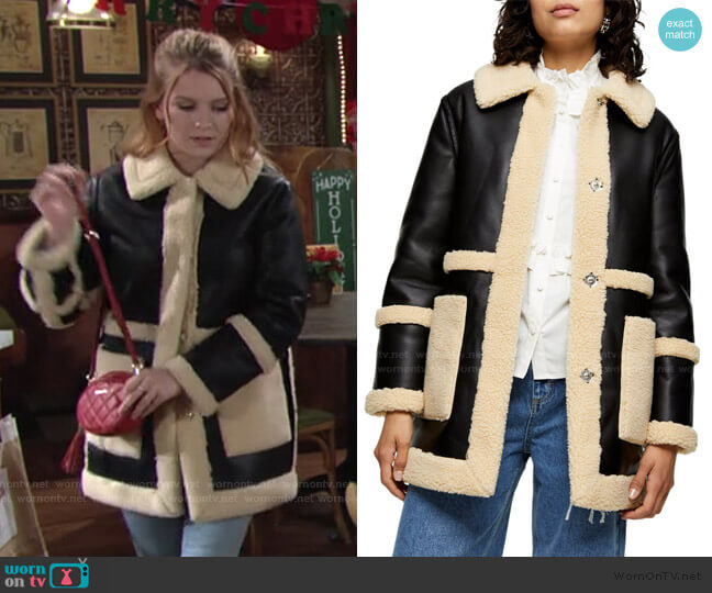 Raven Reversible Faux Shearling Coat by Topshop worn by Madison Thompson The Young and the Restless worn by Jordan (Madison Thompson) on The Young & the Restless