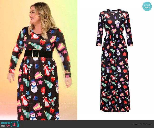 Ugly Christmas Long Maxi Dress at Walmart worn by Kelly Clarkson  on The Voice