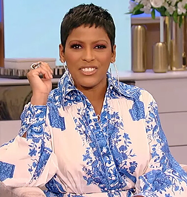 Tamron's floral print shirtdress on Tamron Hall Show