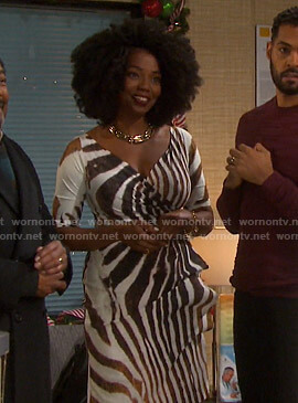 Valerie's zebra print dress on Days of our Lives