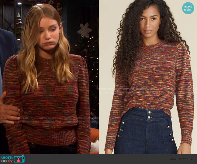 Raissa Puff Sleeve Sweater by Veronica Beard worn by Alice Caroline Horton (Lindsay Arnold) on Days of our Lives