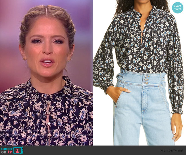 Reba Floral Print Stretch Silk Blouse by Veronica Beard worn by Sara Haines  on The View