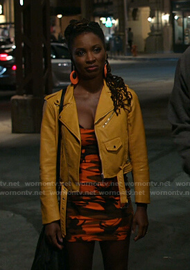 Veronica's orange moto jacket on Shameless