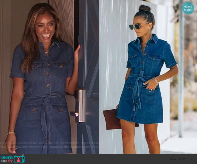 Cotton Pocketed Utility Dress by Vici worn by Tayshia Adams  on The Bachelorette