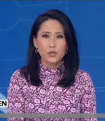 Vicky's pink floral print turtleneck top on Today