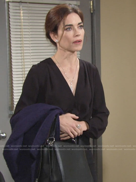 Victoria's black cross front blouse on The Young and the Restless