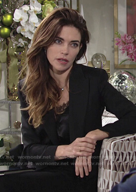 Victoria's black lace top and cropped blazer on The Young and the Restless