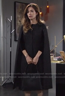Victoria's black textured cape coat on The Young and the Restless