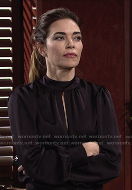 Victoria's keyhole mock neck blouse on The Young and the Restless
