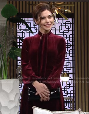 Victoria's red tie neck velvet dress on The Young and the Restless