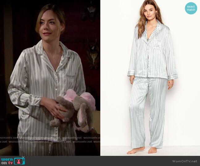 Victorias Secret Satin Long PJ Set in White/Grey Casual Stripe worn by Hope Logan (Annika Noelle) on The Bold & the Beautiful