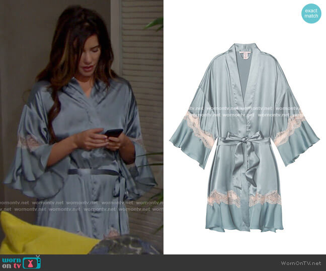 Victoria's Secret Flounce Kimono Robe  worn by Steffy Forrester (Jacqueline MacInnes Wood) on The Bold & the Beautiful