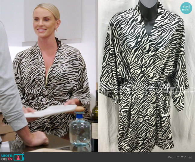 Zebra Print Short Robe by Victoria's Secret worn by Whitney Rose  on The Real Housewives of Salt Lake City