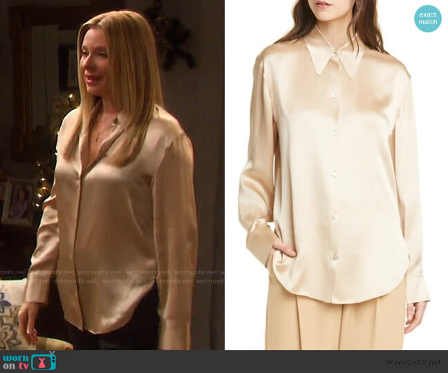 Shaped Collar Silk Blouse by Vince worn by Jennifer Horton (Cady McClain) on Days of our Lives