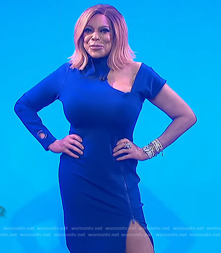 Wendy's blue cutout one sleeve dress on The Wendy Williams Show