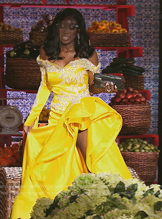 Wendy's yellow ruffle reunion dress on The Real Housewives of Potomac