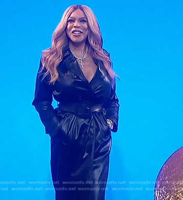 Wendy's black leather trench coat on The Wendy Williams Show