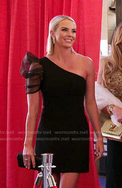 Whitney's black one-shoulder mini dress on The Real Housewives of Salt Lake City