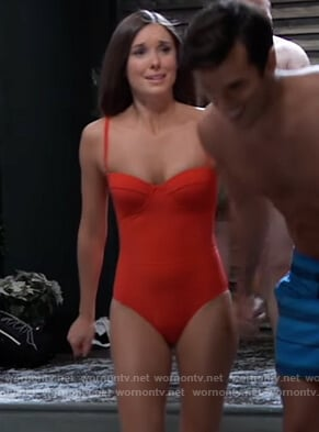 Willows red swimsuit on General Hospital