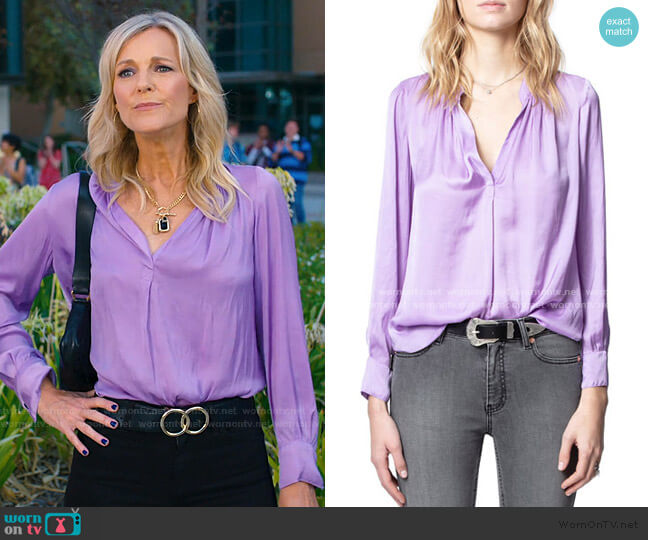 Tink Satin Tunic Top by Zadig & Voltaire worn by Tricia O'Kelley on Saved By The Bell