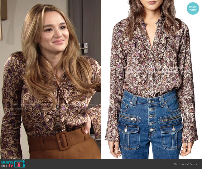 Tuska Blouse by Zadig & Voltaire worn by Summer Newman (Hunter King) on The Young & the Restless