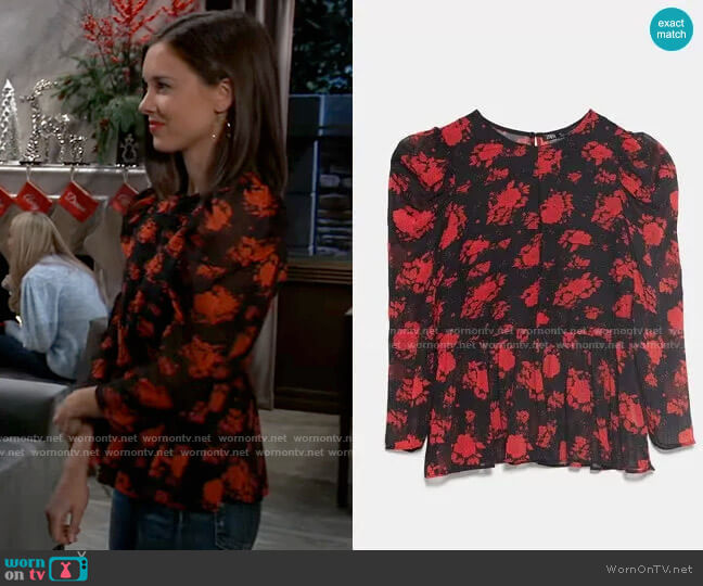 Floral Blouse by Zara worn by Willow Tait (Katelyn MacMullen) on General Hospital