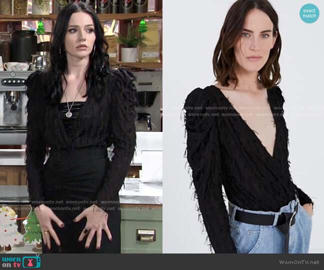 Zara Fringed Bodysuit worn by Tessa Porter (Cait Fairbanks) on The Young & the Restless