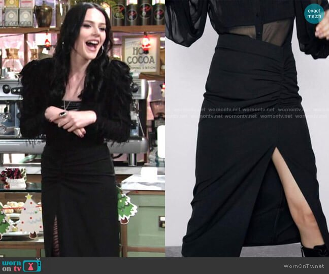 Zara Ruched Skirt worn by Tessa Porter (Cait Fairbanks) on The Young & the Restless