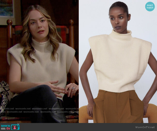 Zara Shoulder Pad Knit Top worn by Hope Logan (Annika Noelle) on The Bold & the Beautiful